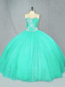 Free and Easy Turquoise Tulle Lace Up Sweetheart Sleeveless Floor Length Quinceanera Gowns Beading