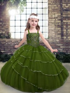 Trendy Olive Green Sleeveless Floor Length Beading and Ruffled Layers Lace Up Pageant Gowns For Girls