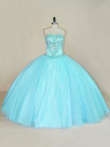 Aqua Blue Sleeveless Beading Floor Length 15th Birthday Dress