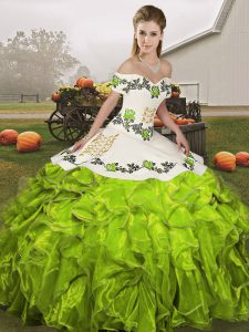 Embroidery and Ruffles Sweet 16 Dress Olive Green Lace Up Sleeveless Floor Length