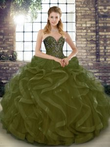 Amazing Olive Green Quince Ball Gowns Military Ball and Sweet 16 and Quinceanera with Beading and Ruffles Sweetheart Sleeveless Lace Up