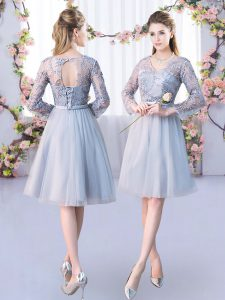 Perfect Grey Tulle Lace Up V-neck Long Sleeves Knee Length Vestidos de Damas Lace and Belt