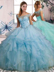 Affordable Light Blue Ball Gowns Off The Shoulder Sleeveless Organza Floor Length Lace Up Beading and Ruffles Quinceanera Dress
