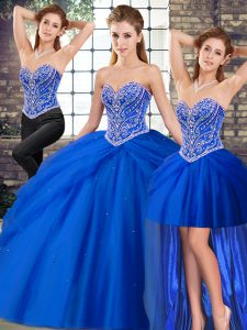 Tulle Sleeveless Quinceanera Gowns Brush Train and Beading and Pick Ups