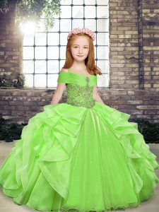Trendy Organza Off The Shoulder Sleeveless Lace Up Beading and Ruffles Kids Formal Wear in