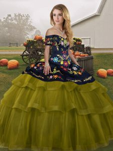 Glamorous Brush Train Ball Gowns 15 Quinceanera Dress Olive Green Off The Shoulder Tulle Sleeveless Lace Up