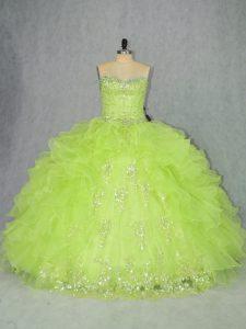 Stunning Yellow Green Sweetheart Lace Up Beading and Ruffles Vestidos de Quinceanera Sleeveless