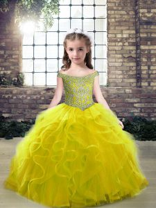 Hot Selling Olive Green Sleeveless Floor Length Beading and Ruffles Lace Up Little Girl Pageant Dress