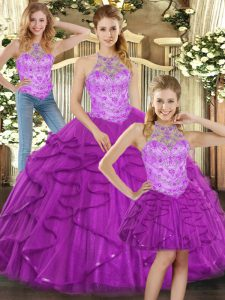 New Arrival Purple Halter Top Lace Up Beading and Ruffles Quinceanera Dress Sleeveless