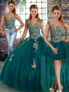 Enchanting Straps Sleeveless Tulle Ball Gown Prom Dress Beading and Appliques Lace Up