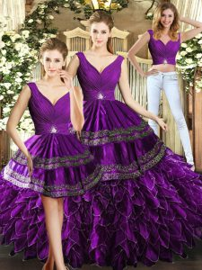 Sleeveless Backless Floor Length Beading and Embroidery and Ruffles Quinceanera Dress