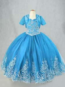 Baby Blue Tulle Lace Up Kids Pageant Dress Sleeveless Floor Length Beading and Embroidery