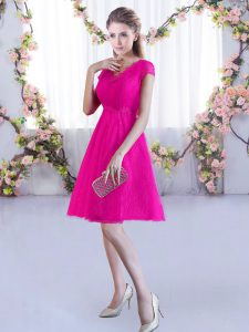 Delicate Lace V-neck Cap Sleeves Lace Up Lace Court Dresses for Sweet 16 in Hot Pink