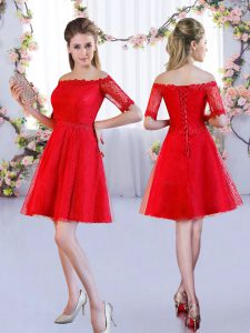 Red Quinceanera Court Dresses Wedding Party with Lace Off The Shoulder Half Sleeves Lace Up
