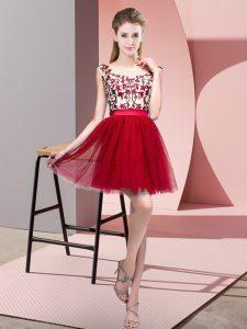 Wine Red Bateau Neckline Lace Quinceanera Court Dresses Sleeveless Zipper