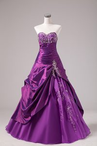 High End Eggplant Purple Sweetheart Lace Up Embroidery Vestidos de Quinceanera Sleeveless