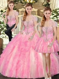 Lovely Baby Pink Ball Gowns Beading and Ruffles Quinceanera Gown Lace Up Tulle Sleeveless Floor Length