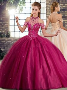 Fuchsia Quinceanera Gowns Halter Top Sleeveless Brush Train Lace Up