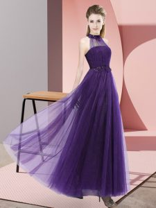 Tulle Sleeveless Floor Length Damas Dress and Beading and Appliques