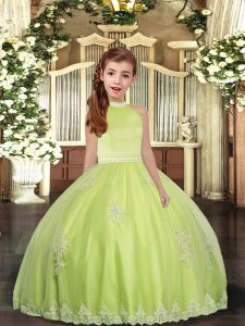 Trendy Beading and Appliques Pageant Dress for Teens Yellow Green Backless Sleeveless Floor Length