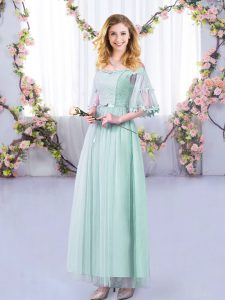 Light Blue Side Zipper Damas Dress Lace and Belt Half Sleeves Floor Length