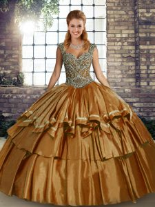 Great Sleeveless Taffeta Floor Length Lace Up Quinceanera Gowns in Brown with Beading and Ruffled Layers
