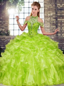 High Class Halter Top Sleeveless Lace Up Quince Ball Gowns Olive Green Organza