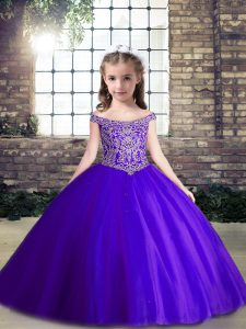 Pretty Sleeveless Beading Lace Up Pageant Gowns For Girls