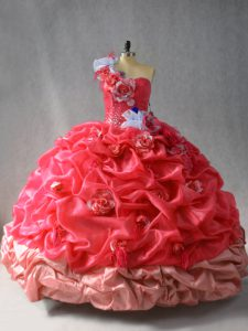 Delicate Floor Length Ball Gowns Sleeveless Coral Red Sweet 16 Dress Lace Up