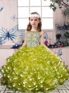 Hot Selling Scoop Sleeveless Lace Up Girls Pageant Dresses Olive Green Organza