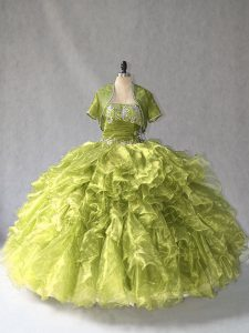 Simple Olive Green Lace Up Scoop Beading and Ruffles 15 Quinceanera Dress Organza Sleeveless