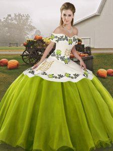 Glamorous Floor Length Olive Green Vestidos de Quinceanera Organza Sleeveless Embroidery