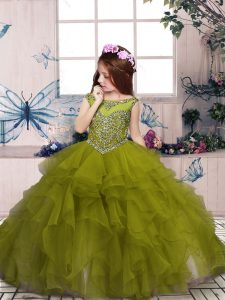 Stunning Sleeveless Floor Length Beading and Ruffles Lace Up Little Girls Pageant Gowns with Olive Green