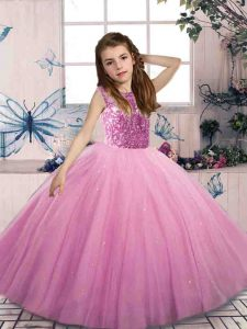 Nice Scoop Sleeveless Little Girl Pageant Gowns Floor Length Beading Lilac Tulle