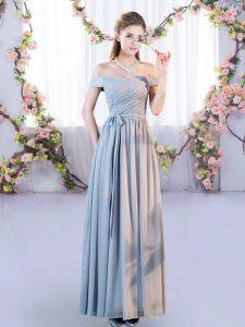 Super Grey Empire Chiffon Off The Shoulder Sleeveless Belt Floor Length Lace Up Vestidos de Damas