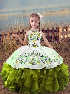Floor Length Lace Up Pageant Gowns For Girls Olive Green for Wedding Party with Embroidery and Ruffles