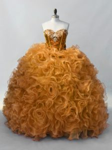 Edgy Gold Ball Gowns Sequins Quince Ball Gowns Lace Up Organza Sleeveless