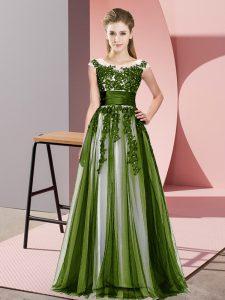 Floor Length Olive Green Court Dresses for Sweet 16 Scoop Sleeveless Zipper