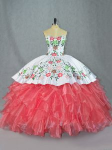 Lovely Sweetheart Sleeveless Quince Ball Gowns Embroidery and Ruffles Watermelon Red Satin and Organza