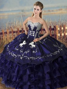 Clearance Purple Sleeveless Floor Length Embroidery and Ruffles Lace Up Quince Ball Gowns