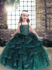 Ball Gowns Pageant Dress Peacock Green Straps Tulle Sleeveless Floor Length Lace Up