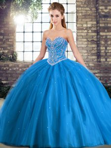 Ball Gowns Sleeveless Baby Blue Quinceanera Gowns Brush Train Lace Up