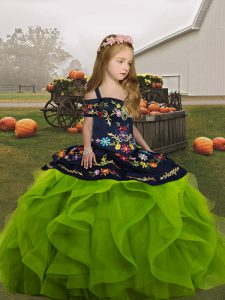 Low Price Straps Sleeveless Girls Pageant Dresses Floor Length Embroidery and Ruffles Olive Green Organza