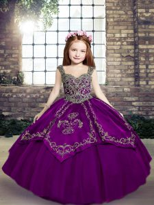 Straps Sleeveless Tulle Little Girls Pageant Dress Wholesale Embroidery Lace Up