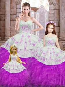 White And Purple Sleeveless Organza Lace Up Vestidos de Quinceanera for Sweet 16 and Quinceanera