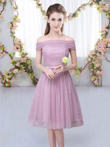 Sexy Pink Short Sleeves Belt Knee Length Damas Dress
