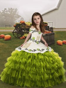 Sleeveless Organza Floor Length Lace Up Pageant Gowns For Girls in Olive Green with Ruffled Layers