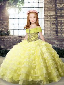 Flirting Yellow Ball Gowns Beading and Ruffled Layers Child Pageant Dress Lace Up Organza Sleeveless