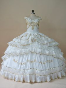 Fabulous White Off The Shoulder Neckline Beading and Embroidery Quince Ball Gowns Sleeveless Lace Up
