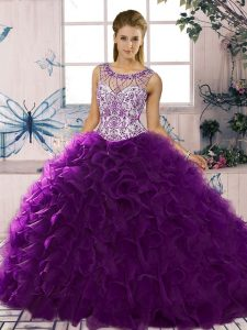 Ball Gowns Quinceanera Dress Purple Scoop Organza Sleeveless Floor Length Lace Up